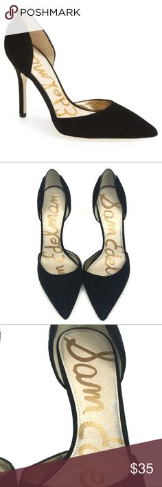 Sam Edelman Delilah d'Orsay Black Suede Pumps Sam Edelman Delilah d'Orsay heels.  Black suede with a snakeskin detail on the back of each heel.  Heel height is 4 inches.  Gently used in excellent condition.  Worn just a couple of times. Sam Edelman Shoes Heels