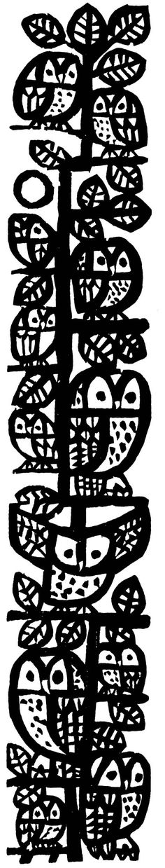 owls by Celestino Piatti, 1970,black and white, ink, painting, drawing, print, lino, style, illustration, design, pattern, bird