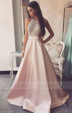 long prom dresses - High Neck Long Aline Pink Prom Dresses Beading Open Back Satin Prom Dresses,Modest Evening Dresses,Party Prom Dresses,Pretty Prom Gowns Prom Dresses Long Pink, A Line Prom Dresses, Prom Party Dresses, Modest Dresses, Pretty Dresses, Sexy Dresses, Evening Dresses, Elegant Dresses, Prom Dresses Long Open Back