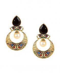 Crescent Earrings with Meenakari Art
