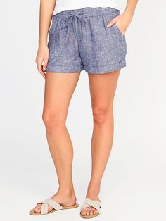 de9ee75559a7 Mid-Rise Linen-Blend Pull-On Shorts for Women