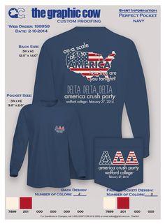 Delta Delta Delta America Crush Party Tshirt. Wofford Tri Delta: such a good t-shirt idea!!
