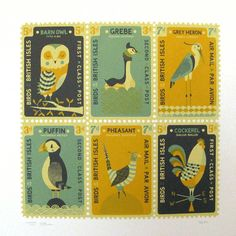 vintage inspired bird stamps. boxbird.co.uk