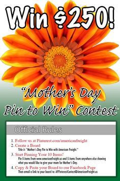 """Follow our Pinterest page, then create your own board called """"Mother's Day Pin to Win with American Freight"""". Pin 5 items from www.americanfreight.us and 5 items from anywhere on Pinterest, all showing things you'd like to give your mom for Mother's Day! Then, share your completed board on our Facebook page (facebook.com/americanfreightfurniture) and email it to AFPinterestContest@americanfreight.us. A winner will be chosen randomly and receive a $250 gift card - contest ends 5/8/13!"""