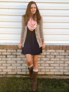A Classic Ambition: Fall Layers - Dress: TJ Maxx, Cardigan and Boot Socks: Target, Scarf Bracelet and Watch: Charming Charlie, Boots: Macy's