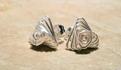 wire wrapped stud earrings | Silver Stud Earrings-Wire Wrapped