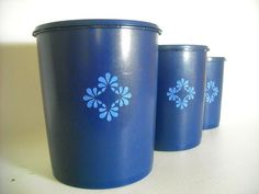 Vintage Tupperware Canister Set Cobalt Blue 1970s Have not seen this colour before... Need some!