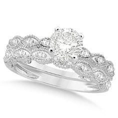Petite Antique-Design Diamond Bridal Set in 14k White Gold (1.58ct), Women's, Size: 8.5