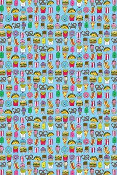 Junk Food Pattern Wallpaper. #junkfood #pattern #iphone #wallpaper