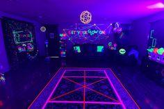 Glow in the Dark Dance Floor from a Glow Dance Birthday Party on Kara's Party Ideas | KarasPartyIdeas.com (50)
