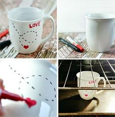 Crafty Projects, Diy Projects To Try, Pottery Painting, Diy Painting, Porcelain Pens, Painted Mugs, Ceramic Design, Valentine's Day Diy, Valentine Decorations