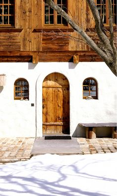 Wood and plaster make up this beautiful Swiss chalet