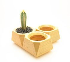 Add modern style and natural beauty to your home or office with this beautiful geometric planter pot. This mini wood planter is just the right size to hold succulents and other small potted plants, and you can display this planter on any windowsill, table Cedar Planters, Planter Pots, Succulent Planters, Planter Ideas, Indoor Planters, Small Potted Plants, Modern Plant Stand, Brainstorm, 3d Prints