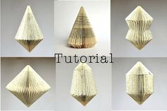 https://flic.kr/p/q58kqR | Folded Book Sculpture Ornaments | Instant download tutorial created by Dorisse of Paper Statement.. Blogged: www.allthingspaper.net/2014/12/paper-ornament-kit-round-u...