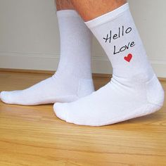 Custom Printed Men's Valentine Socks, Hello Love, Valentine's Day Gift Idea, Funny Socks Set of 3 Pairs in Black or White Crew Socks for Men