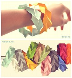 20 cool origami tutorials to work on with your kids. how to fold origami animals, flowers, boats, envelopes, and more. Origami Paper, Diy Paper, Paper Art, Paper Crafts, Diy Origami, Oragami, Paper Bracelet, Paper Jewelry, Diy Jewelry