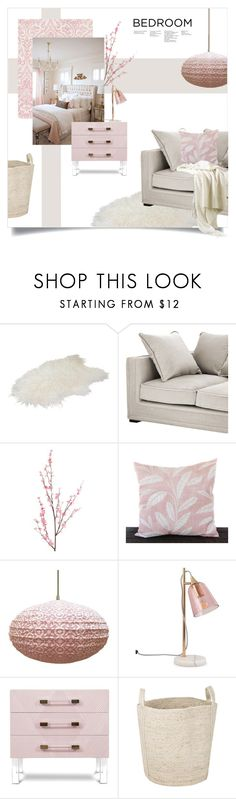 """""""Pink Bedroom"""" by magdafunk ❤ liked on Polyvore featuring interior, interiors, interior design, home, home decor, interior decorating, Eichholtz, Pier 1 Imports, The Braided Rug Company and bedroom"""