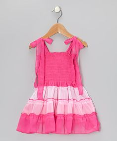 Take a look at this Pink Shirred Color Block Dress - Toddler & Girls by Unik on #zulily today!