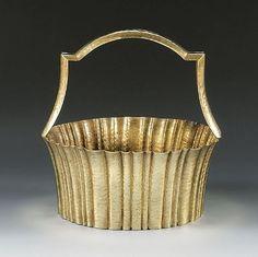 Josef Hoffmann, Basket  Basket  circa 1924  Brass, chased, hammered decor  MARKINGS: WIENER WERKSTÄTTE, monogram JH, MADE IN AUSTRIA  SIZE:  H: 20.3 cm, D: 19.5 cm
