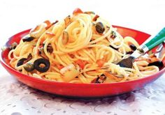 Spicy Tuyo Pasta with Olives, Capers, and Kesong Puti