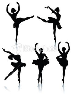 Ballet dancer silhouettes Royalty Free Stock Vector Art Illustration