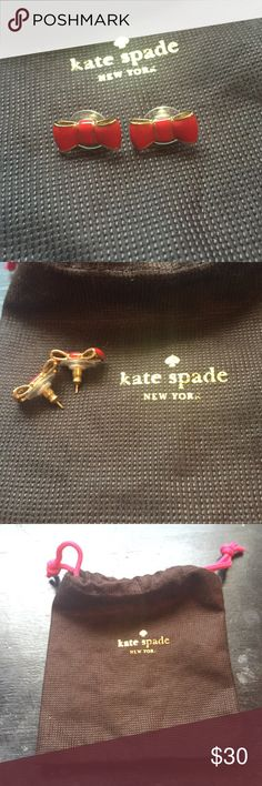 Kate Spade Bow Earrings Red bow earrings. Comes with protective bag. kate spade Jewelry Earrings