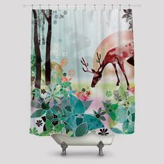 Abstract Nature Jungle Art Shower Curtains