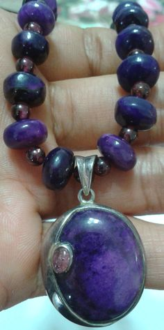 Colite / Water Sapphires long Silver Necklace - Beautiful long purplish blue crystals necklace – fashionable piece to match clothing. - Price & Details on: http://uncoveredtreasures.jimdo.com/