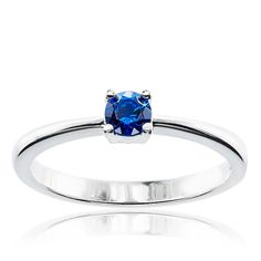 CHROMA Sterling Silver Round Austrian Crystal Birthstone Ring (Size 9, cubic zirconia), Women's, White
