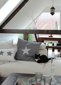 pillow with star DIY Kissen mit Stern DIY