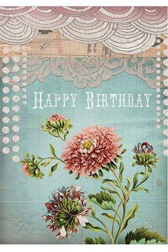 MAMÃO! Cartão 5x7 do aniversário do laço Art - Greeting Cards * NEW * - Cards & Paper - SHOP