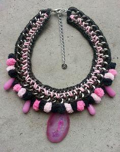 Pom pom statement necklace pom pom necklace pom by JewelryLanChe