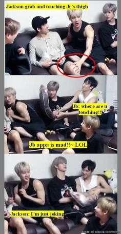 XD Jb was jealous of Jackson for touching Jinyoung and Mark was jealous of Jinyoung for being touched by Jackson. Got7 Meme, Got7 Funny, Funny Kpop Memes, Hilarious, Mark Bambam, Yugyeom, Youngjae, Got7 Jackson, Jackson Wang
