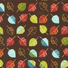 colorful autumn leaves fabric
