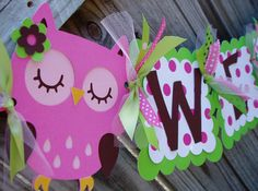owl decorations for baby shower | RESERVED listing Pink and green Owl Welcome baby shower banner
