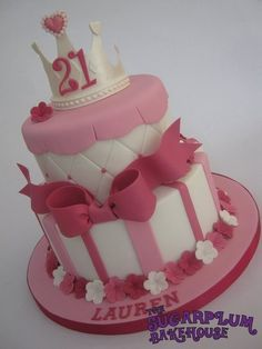 2 Tier Girly Princess 21st Birthday Cake - (could be modified for older girl's christening cake)