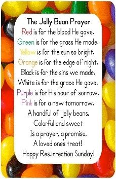 Earn jelly beans with these acts. Red for sacrifice, green for good deeds, yellow for showing kindness, orange for prayers and good behavior, black for good rest, purple for apologizing, pink for forgiveness. White are freebie gifts of grace from God.