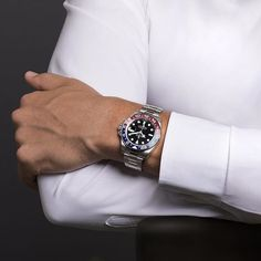The Rolex GMT-Master II in 18 ct white gold with a red and blue Cerachrom bezel worn by Milos Raonic, the Canadian professional tennis player and Rolex Testimonee. @mraonic