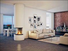 Freistehender kamin design minimalistisches design mit einem wand dekorbilder und design bücherregale