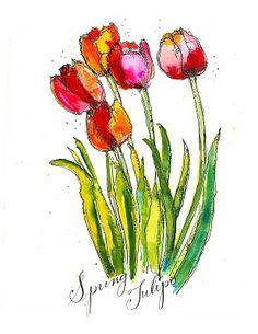 Art du Jour by Martha Lever: Tulip Time