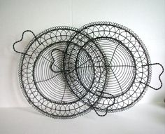 A Pair of Vintage French Wire Baskets by VintageHomeShop on Etsy, $32.00