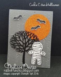 handmade Thanksgiving card from  ... mummy, die cut leafless tree, bats and a big orange moon ... gray background with birches embossing folder texture ... from RubberFUNatics ...
