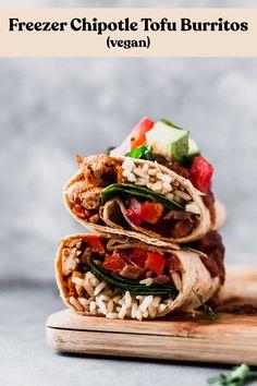 Prepare these Chipotle Tofu Burritos Vegetarian Recipes, Healthy Recipes, Vegetarian Protein, Tofu Recipes, Wrap Recipes, Sandwich Recipes, Recipes Dinner, Healthy Foods, Salad Recipes