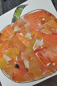 Pumpkin collage with old magazines. #pumpkin #orange #magazine #recycle #kids #children #happyhalloween #halloween #October #preschool #glue #prek #kindergarten #toddler #diy #craft #decor #decoration #activity #easy #simple