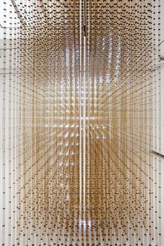 Swarm lighting installation by rAndom International at Carpenters Workshop Gallery, Paris.