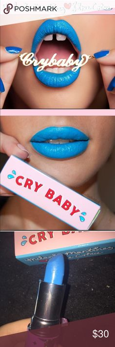 """RARE Melanie Martinez Lime Crime Cry Baby Lipstick New Lime Crime Unicorn Lipstick collaboration with Melanie Martinez in """"Cry Baby"""" a rich blue color. Original packaging. This was sold out everywhere and is extremely hard to find. I only swatched it on my hand but it's never been used. Fair offers only please! Not UNIF! UNIF Makeup Lipstick"""