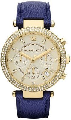 Michael Kors Watch, Women's Chronograph Parker Navy Leather Strap - First @ Macy's! - All Michael Kors Watches - Jewelry & Watches - Macy's Boutique Michael Kors, Sac Michael Kors, Michael Kors Outlet, Handbags Michael Kors, Michael Kors Watch, Michael Watches, Women's Watches, Ladies Watches