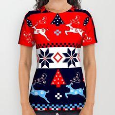 Scandinavian holidays pattern design All Over Print Shirt