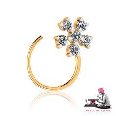 Floral Motif #NoseRing!  #JOJ #handcrafted #BridalJewelry #Jaipur #Gems #Diamond #Jewels #NosePin