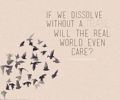 """If we dissolve without a trace, would the real world even care?"" - Real World, Owl City"